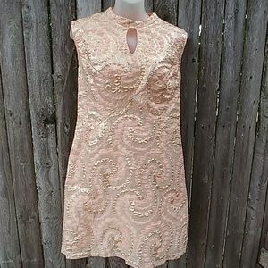 Vintage Peach & Gold 1960s Swirly Polka Dot Dress